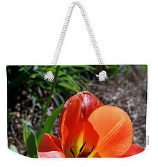 Weekender Tote Bag featuring the photograph Tulips Wearing Orange by Sandi OReilly