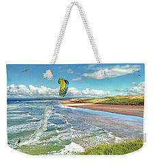 Tullan Strand - Surf, Blue Sky And A Kite Surfer Enjoying The Waves Weekender Tote Bag