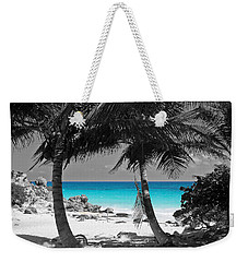 Tulum Mexico Beach Color Splash Black And White Weekender Tote Bag