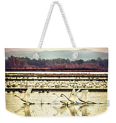 Tundra Swans Lift Off Weekender Tote Bag