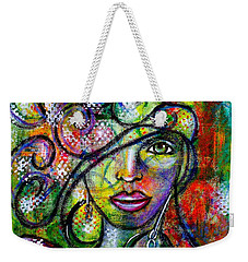 Weekender Tote Bag featuring the painting Tuning In by Julie Hoyle