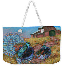 Weekender Tote Bag featuring the painting Turkey Tom's Tango by Xueling Zou