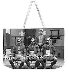 Weekender Tote Bag featuring the painting Turkish Wrestlers Practicing For The Golden Belt 1904 by Artistic Panda