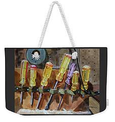 Weekender Tote Bag featuring the painting Turn, Turn, Turn by Kris Parins