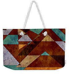 Turquoise And Bronze Triangle Design With Copper Weekender Tote Bag
