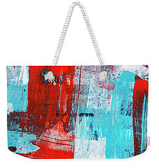 Weekender Tote Bag featuring the painting Turquoise And Red Abstract Painting by Christina Rollo