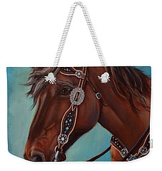 Turquoise And Silver Weekender Tote Bag