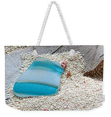 Turquoise And White Sea Glass Weekender Tote Bag