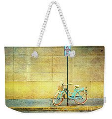 Weekender Tote Bag featuring the photograph Turquoise Bicycle by Craig J Satterlee