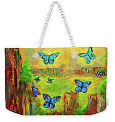 Turquoise Butterflies Weekender Tote Bag by Haleh Mahbod
