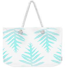 Turquoise Fern Array Weekender Tote Bag