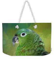 Turquoise-fronted Amazon Weekender Tote Bag by Eva Lechner