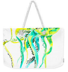 Turquoise Green Octopus Weekender Tote Bag by Suren Nersisyan