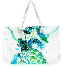 Turquoise Indigo Sea Turtles Weekender Tote Bag by Suren Nersisyan