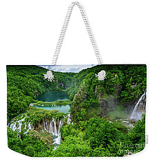 Turquoise Lakes And Waterfalls - A Dramatic View, Plitivice Lakes National Park Croatia Weekender Tote Bag