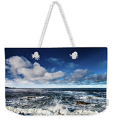 Weekender Tote Bag featuring the photograph Turquoise Pacific Ocean Sea Water Rolling Waves And Rock With Bl by Jingjits Photography