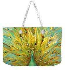 Turquoise Peacock Weekender Tote Bag