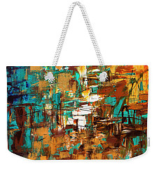 Weekender Tote Bag featuring the painting Turquoise Scent by Carmen Guedez