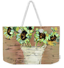 Weekender Tote Bag featuring the painting Turquoise Sunflowers by Carrie Joy Byrnes