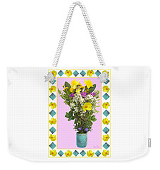 Weekender Tote Bag featuring the digital art Turquoise Vase With Spring Bouquet by Lise Winne