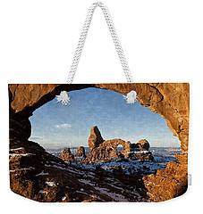 Weekender Tote Bag featuring the digital art Turret Arch by Kai Saarto