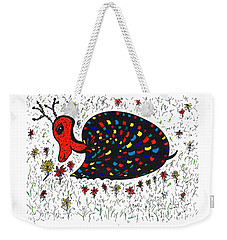 Weekender Tote Bag featuring the drawing Snurtle Snail Turtle And Flowers by Susan Dimitrakopoulos