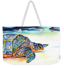 Weekender Tote Bag featuring the painting Turtle At Poipu Beach 2 by Marionette Taboniar
