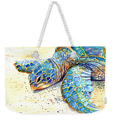 Weekender Tote Bag featuring the painting Turtle At Poipu Beach 4 by Marionette Taboniar