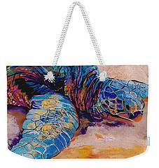 Weekender Tote Bag featuring the painting Turtle At Poipu Beach 6 by Marionette Taboniar