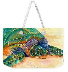 Turtle At Poipu Beach 7 Weekender Tote Bag by Marionette Taboniar