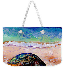 Weekender Tote Bag featuring the painting Turtle At Poipu Beach 9 by Marionette Taboniar