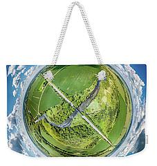 Weekender Tote Bag featuring the photograph Turtle Creek Railroad Bridge Little Planet by Randy Scherkenbach