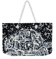 Weekender Tote Bag featuring the painting Turtle Walking Under A Starry Sky by Fabrizio Cassetta