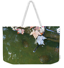Weekender Tote Bag featuring the photograph Turtles And Leaves In The Water by Irina Sztukowski