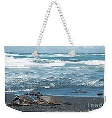 Turtles On Black Sand Beach Weekender Tote Bag