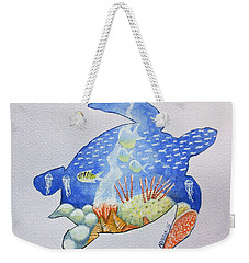 Weekender Tote Bag featuring the painting Turtle's World by Edwin Alverio