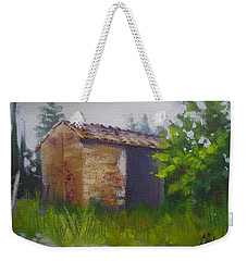 Weekender Tote Bag featuring the painting Tuscan Abandoned Farm Shed by Chris Hobel