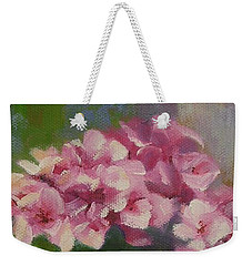 Weekender Tote Bag featuring the painting Tuscan Flower Pot Oil Painting by Chris Hobel