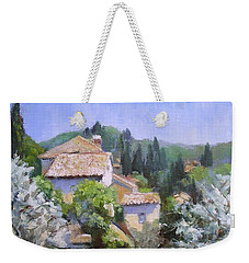 Weekender Tote Bag featuring the painting Tuscan  Hilltop Village by Chris Hobel