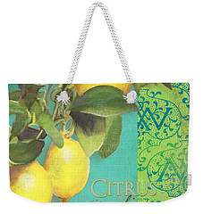 Tuscan Lemon Tree - Citrus Limonum Damask Weekender Tote Bag by Audrey Jeanne Roberts