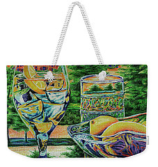 Weekender Tote Bag featuring the drawing Tuscan Summer Lemonade  by Peter Piatt