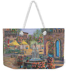 Beautiful Tuscan Villa Flower Garden Fountain Painting Weekender Tote Bag