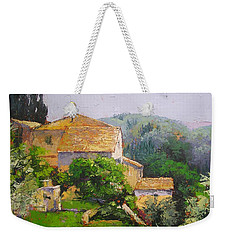 Weekender Tote Bag featuring the painting Tuscan Village by Chris Hobel