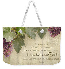Tuscan Vineyard - Rustic Wood Fence Scripture Weekender Tote Bag