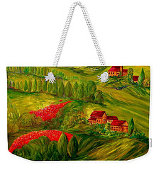Weekender Tote Bag featuring the painting Tuscany At Dawn by Eloise Schneider