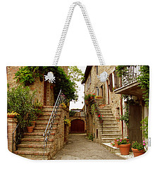 Weekender Tote Bag featuring the photograph Tuscany Stairways by Donna Corless