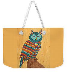 Weekender Tote Bag featuring the painting Tutie Fruitie Hootie Owl by Susie WEBER