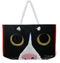 Weekender Tote Bag featuring the painting Tux Portrait  by Reina Resto
