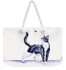 Tuxedo Cat And Bumble Bee Weekender Tote Bag by Debra Hall