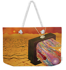 Weekender Tote Bag featuring the painting Tv Wasteland by Thomas Blood